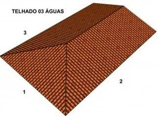 Ilustração de um telhado do tipo três águas ou 3 águas